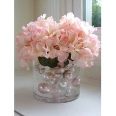 Decorative Vase Fillers - 34 Pc. Pack Jumbo Light Pink Pearl Beads and White Pearl Beads