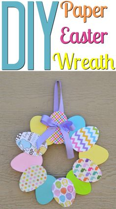 This DIY Paper Easter Wreath is the perfect DIY to get in the spirit of the holiday! You can make it with your family and display it on your front door, or make one for some friends and family as a lovely DIY easter gift! #Easter #eastercrafts #easterdecor #eastercraftsforkids