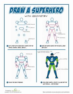 Worksheets: How to Draw a Superhero! drawing superheroes how to, worksheet, how to draw a superhero, superhero draw