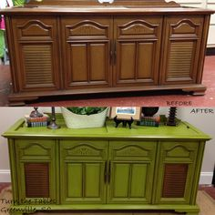 """Great repurpose furniture idea!  Customer choose American Paint """"Waistcoat"""" to transform this vintage 1950's stereo cabinet into a beautiful, fun table for her living room."""