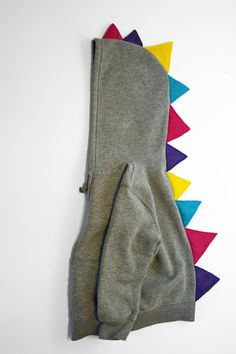 Dinosaur Hoodie with Multi-Color spikes : hooded sweatshirt with many color dino spikes