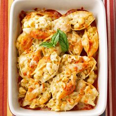 With Gruyere, cheddar, and mozzarella cheeses, this indulgent spin on classic macaroni and cheese is packed with creamy deliciousness: http://www.bhg.com/recipes/casseroles/casserole-recipes/?socsrc=bhgpin060414cheesystuffedshells&page=10