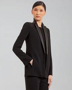 Leather-Lapel Jacket by Akris at Bergdorf Goodman.