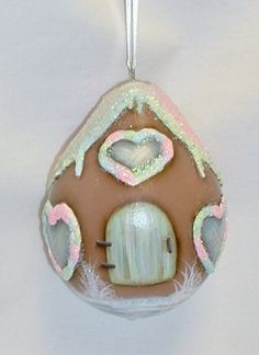 Gingerbread House Gourd Tree Ornament  Painted by FromGramsHouse