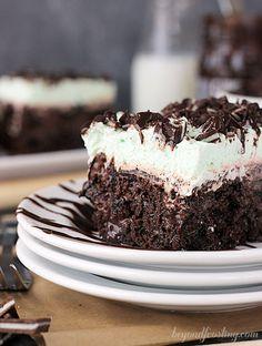 Double Mint Chocolate Poke Cake Recipe - RecipeChart.com