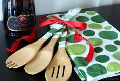 hostess gift-painted wooden spoons