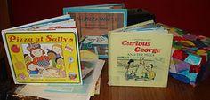 books, pizza book, songs, pizzas, speech stuff, pizza parti