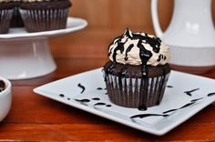 Peanut butter-stuffed, hot fudge cupcakes