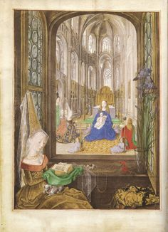 Marie de Bourgogne shortly after the death of her father reading a book,c.1477