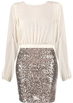 Fancy Fix Dress: Features a solid sheer ivory upper portion, billowy sleeves with elasticized cuffs, beautifully designed overlapping upper back, and a glistening ash gold sequin skirt to finish.