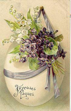 vintage postcards, easter card, violet, easter eggs