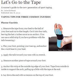 Kinesio taping for Plantar Fasciitis  @Becky Hui Chan Huckaby Brown This is the pin I was talking about.