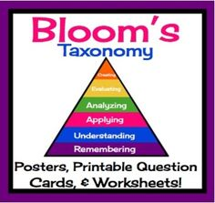 Blooms Taxonomy Posters, Worksheets, and Printable Question Cards For ANY REading