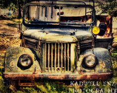 Great Jeep photo, rusted old girl left in the weeds, Tajik Jeep 8x10 Fine Art Print Wall Art Home Decor Rusted Old Car Truck Tajikistan Travel Central Asia. $30.00, via Etsy.