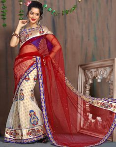 USD 134.42 Maroon and Cream Net Wedding Lehenga Saree 29988