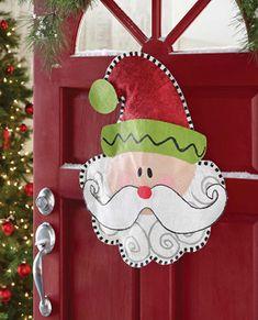 Mud Pie Santa Burlap Christmas Door Hanger
