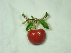 Vintage Apple Pin Red & Gold Enamel Brooch by LavenderGardenCottag