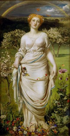 Anthony Frederick Augustus Sandys (1829 - 1904), Gentle Spring, 1865, oil on canvas, 121 x 64 cm, Ashmolean Museum, University of Oxford, United Kingdom.