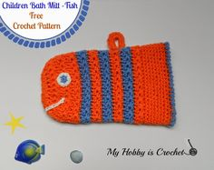 Crochet Fish Bath Mitt (star stitch) - Free Crochet Pattern with Tutorial #freecrochetpattern #myhobbyiscrochet