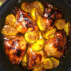 Roasted Saffron Chicken with Figs and Drizzled Honey