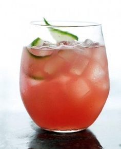 Watermelon Cucumber Cocktail {recipe via Martha Stewart}  5 cups cubed seedless watermelon (about 1 1/2 pounds) 1 large English cucumber, peeled and cut into chunks 1/4 cup fresh lime juice (from 2 limes) 2 tablespoons honey 2/3 cup vodka Ice Cucumber slices, for garnish http://www.marthastewart.com/319455/watermelon-cucumber-cooler