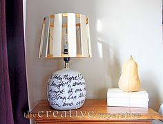 wooden shim and embroidery hoop shade.  dry erase marker to write on lamp