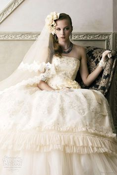 Bridal Ivory Cream - cream wedding dress with applique and lace
