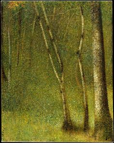 Georges Seurat (French, 1859–1891). The Forest at Pontaubert, 1881. The Metropolitan Museum of Art, New York. Purchase, Gift of Raymonde Paul, in memory of her brother, C. Michael Paul, by exchange, 1985 (1985.237) | Seurat spent two months in the late summer and early fall of 1881 in Pontaubert, a village in the Cousin Valley southeast of Paris frequented by Daubigny, Corot, and other Barbizon artists.