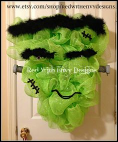 Fun Frankenstein Deco Mesh Wreath made by Red with Envy Designs.