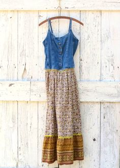 Floral Bohemian Maxi Sundress  Upcycled denim and by wearlovenow, $58.00  #boho maxi sundress, #indie fashion, #floral summer dress, #upcycled clothes