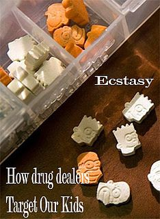 "How Drug Dealers Target Our Kids - Without drug users, drug dealers would go out of business. Because they need there to be a demand for the illegal drugs they produce and traffic, dealers are continually looking to attract more ""customers"" -- to get more people ""hooked on their junk.""    Ecstasy pills made to look like children's chewable vitamins  Ecstasy pills made to look like children's chewable vitamins. http://www.jacksongov.org/content/5243/7150/7155/7157.aspx"