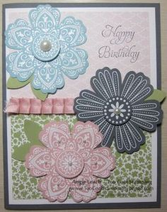 handmade card ,,, luv the layered and embossed flowers from the Mixed Bunch set ... three flowers fill the card front ... like this card!!! ... Stampin' Up!