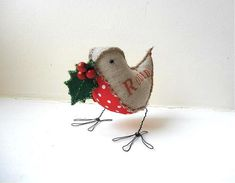 Robin Bird soft sculpture handmade Christmas Ornament Gift Idea rustic gray red with holly berry