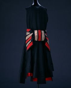 1928 Evening Dress by Jeanne Lanvin: silk taffeta and silk ribbon appliqué.