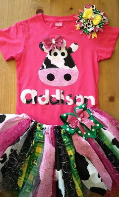 On The Farm Scrap Fabric Tutu Outfit by ScrapHappyTutus on Etsy, $40.00. The cows face is strange but how cute!!!