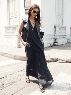 Madewell Piazza maxidress worn with leather tour vest + the sightseer sandal.