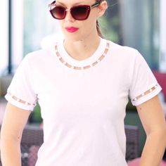 Upcycle your t-shirts with this fab DIY cut-out neck and sleeve Tee embellished with pearls!