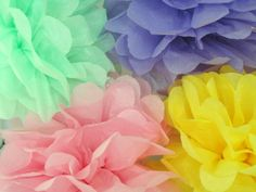 Pastel colors 4 tissue paper pompoms // baby shower by PomJoyFun, $20.00
