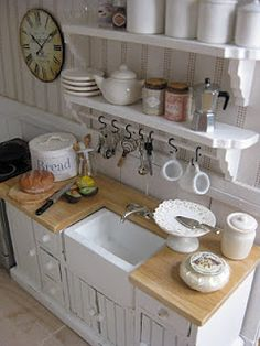 more miniature cottage cuteness - loving the white on white look kitchen shelves, kitchen sinks, miniature dollhouse, cottage kitchens, farm sinks, arthur hous, doll houses, farm houses, dream kitchens
