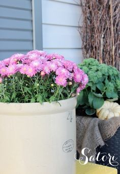 Fall Front Porch with Purple Garden Mum in a Vintage Crock