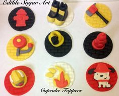 Fondant Fire Truck Cupcake Topper FIREFIGHTER CAKE TOPPER first birthday cake decorations Favors Firetrucks Fire hydrant birthday. $25.00, via Etsy.