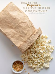 How to Pop Popcorn in a Brown Paper Bag in the Microwave @blessthismess #12bloggers