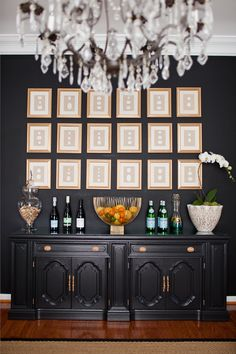 black and gold dining room
