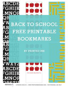 Back To School Free Printable Bookmarks
