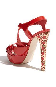 #DIOR Metal Cannage Heel Platform Sandal in Red #Shoes #Heels