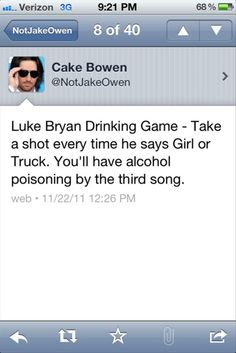 """Luke Bryan really does say """"girl"""" and """"truck"""" a lot. Like.... a lot."""
