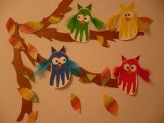 Maro's kindergarten: Handprint owls!