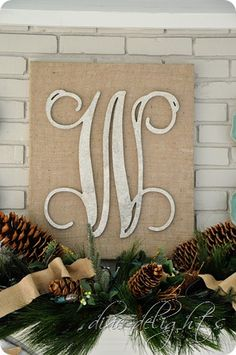 monogram on a burlap covered canvas burlap, craft, wedding receptions, wooden letters, monogram letters, monogram canva, diy, monograms, christmas mantels