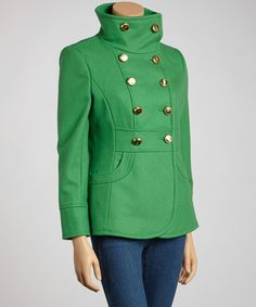 Peacock Wool-Blend Funnel-Collar Peacoat - Petite by Kenneth Cole