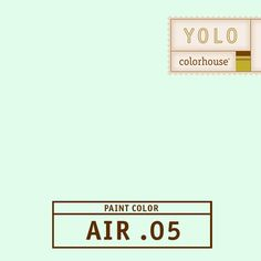 YOLO Colorhouse AIR .05:  The color of reflective light from outside – a  light, airy vapor.  A hue that lifts and breathes in a space.  This color feels at home on a ceiling.  $35.95